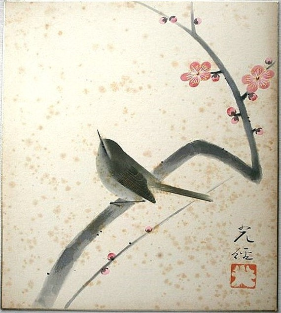 Vintage japanese painting bird plum blossoms in showa period for Japanese watercolor paintings