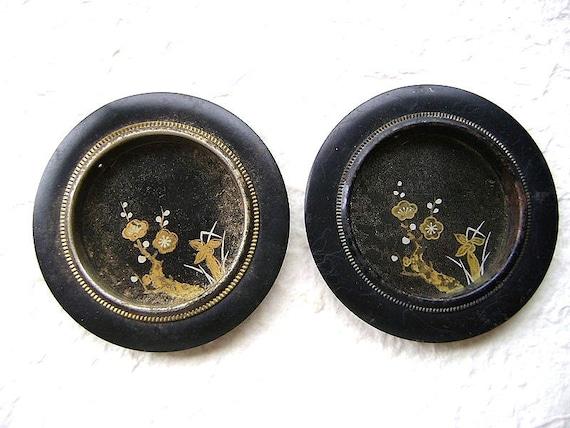 RESERVED  for Francine Vintage Japanese Door Handles Plum Blossoms Set 45