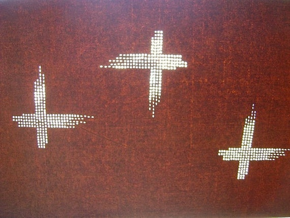 Vintage Japanese Katagami Stencil Cross in Showa Period