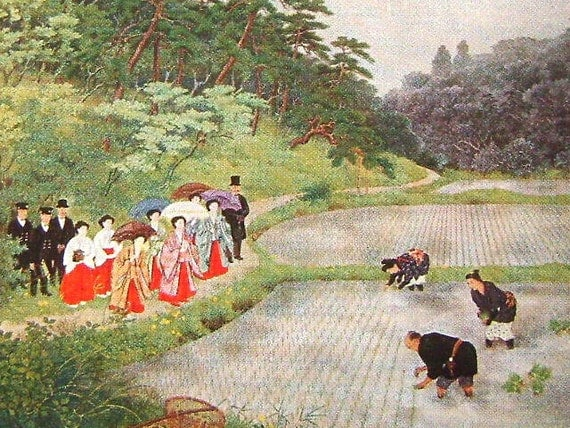 Vintage Japanese Postcard Empress Watching Rice Planting