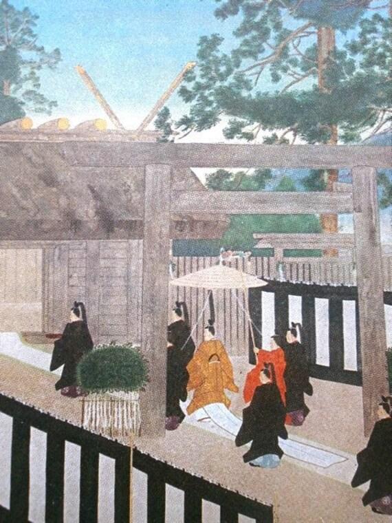 Vintage Japanese Postcard  Emperor Praying At A Shrine