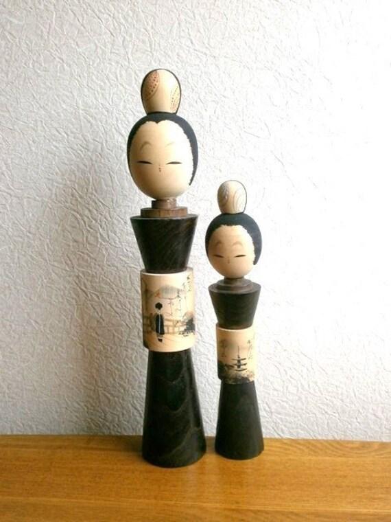 Japanese Kokeshi Doll  Vintage Cute Kyoto  Sisters
