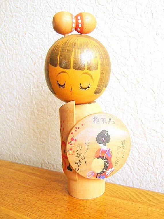 Vintage Japanese Kokeshi Doll Shizuoka Ken Inatori Onsen Omiyage Souvenir