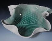 Porcelain Pottery Green Bowl Modern Art  Home Decor Hosta Leaf Wedding Gift  Gift for Her