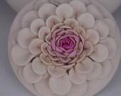 Urn, Pet Urn, Pottery, White,  Pink, Ceramic, Porcelain