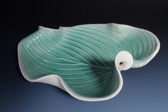 Pottery Bowl Fruit Green Decorative Hosta Leaf  Art  Modern Porcelain Wedding Gift