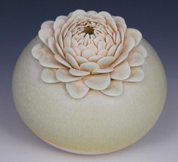 Vase, Ceramic, Green, Gold, Lotus, Flower, Handmade, Light Green