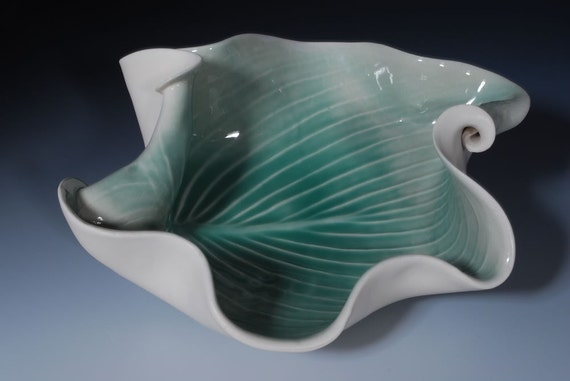 Porcelain Pottery Green Bowl Modern Art  Home Decor Hosta Leaf Wedding Gift  Gift for Her