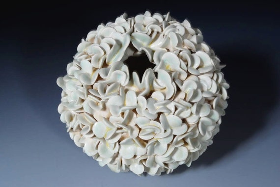 Textured - Vase - Pottery -  Hydrangea - Porcelain  - Sculpture  In Green
