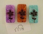 Magnets: Flowers, Inked, handmade, set of 3.