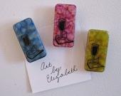 Magnets: Wine Glasses, Inked, handmade, set of 3.
