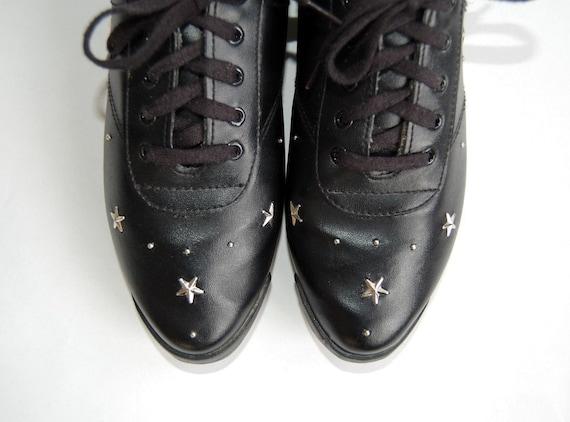 Punky Star Studded Lace Up Shoes Sz 8