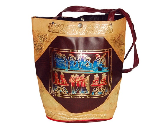 SALE - Egyptian Rituals Leather Tote with Gold and Rainbow Foil