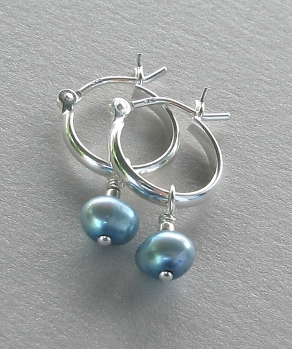 Tiny Sterling Silver Hoop with Blue Freshwater Pearl - Earrings