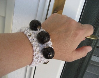 Upcycled Repurposed Funky Fun Knitted Bracelet with Three Wooden Beads Jewelry Cuff