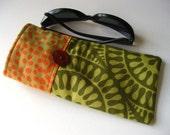 Sunglasses Case in Olive Green and Orange, soft Kaffe Fassett cotton glasses sleeve, cozy
