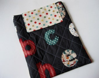 On Sale - IPad Case - quilted vintage alphabet letters on black, tablet sleeve, iPad cozy, Black Quilted case for gadget