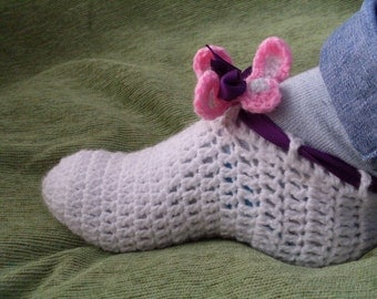Crochet PATTERN 34 - pdf file - Sizes 7-8  9-10  11-12 Adult  Women slippers with  Aloha Flower - Mary Janes - Ballet Flats INSTANT DOWNLOAD