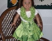 Three Piece Hawaiian Hula Luau Outfit for American Girl Kanani or other 18 inch doll