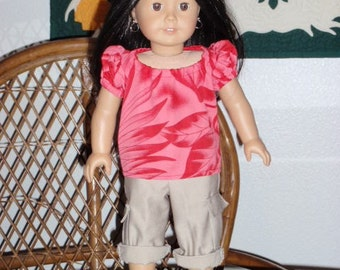 Hawaiian Style Peasant Top for 18 inch doll