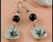 Mini Ming Dynasty Pottery Shard Earrings with Black Bird and Black Onyx