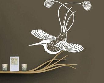 Japanese Bird Vinyl Decal Wall Sticker Bird-of-paradise Interior Decor