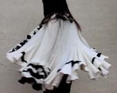 Black white runway ruffled handmade cashmere cardigan sweater \
