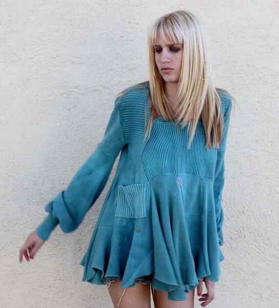 Bolero one of a kind handmade teal cashmere swing tunic sweater M