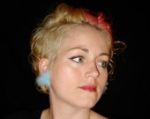 reserved listing Eco Friendly -- Upcycled Blue Fur Earrings