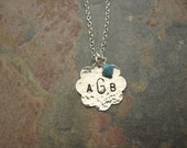 Sterling Silver Hand Stamped 19mm Scalloped Disc Necklace