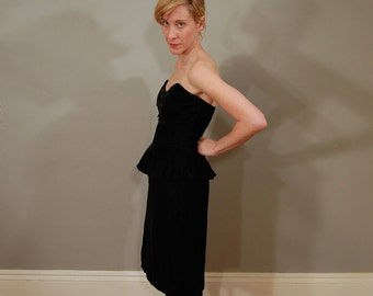 80's Black Velvet Peplum Dress with Sequined Bow, S/M