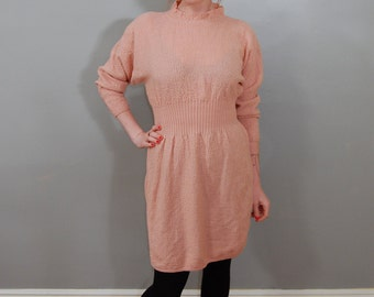 80's Peach Nubby Knit Sweater-Dress, M/L