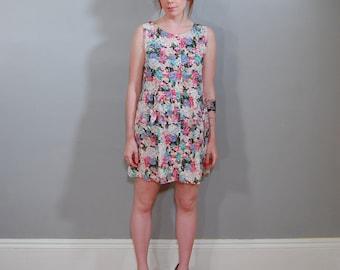 80's Indian Flowers Pocket Dress, S/M