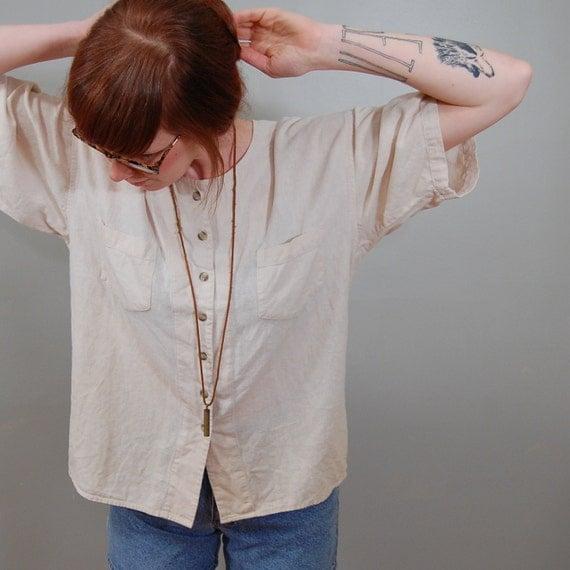 80's Cream Natural Silk Shirt, M/L