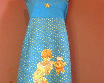Vintage Rainbow Brites Friends Lala Orange and Canary Yellow Hippie Apron Style Shirt