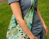 Ocean Breeze Large REVERSIBLE Slouch Hobo Bag in Blue and Green