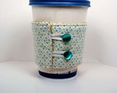 Blue flowers coffee cozy