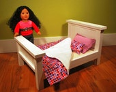 "Custom made American girl 18"" doll bed with bedding set."