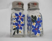 Salt and Pepper Shaker Set Hand Painted Colbalt Blue