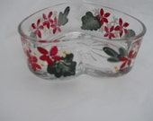 Heart Shaped Candy Dish Hand Painted with Beautiful  Fire Engine Red Flowers