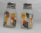 Salt and Pepper Shaker Set Hand Painted Yellow and Orange