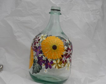 Hand Painted Jug Beautiful Sunflowers Recycled Bottle
