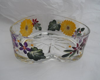 Heart Shaped Candy Dish Hand Painted with Beautiful SunflowersFlowers