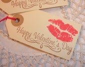 SALE Valentines Day Tags Red Hot Lips Set of 10