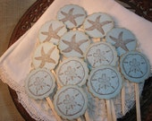 Cupcake Toppers Starfish Sand Dollar Set of 12
