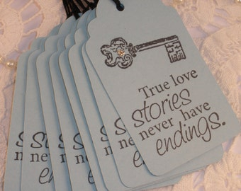 Wedding Tags True Love Stories Skeleton Key Quote Set of 8