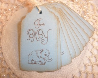 Baby Shower Favor Tags Elephant Vintage Inspired Nail Polish Tags Last Set Left