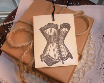 Corset Tags Vintage Inspired Wedding Bachelorette Party Girls Night Out Lingerie Set of 30