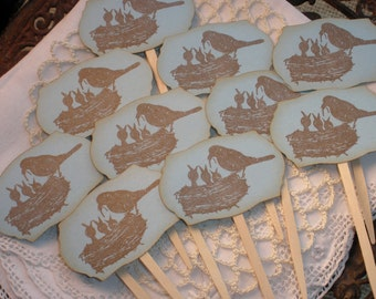 Cupcake Toppers Bird Nest Family Baby Shower Set of 12