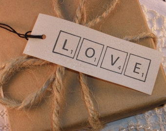 Scrabble Love Wedding Tags Vintage Inspired Set of 25